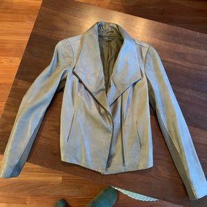 Vince genuine leather gray moto jacket